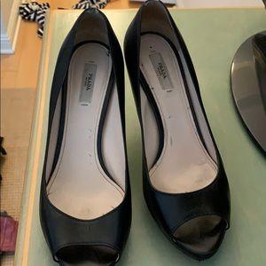 Prada peep toe low heels